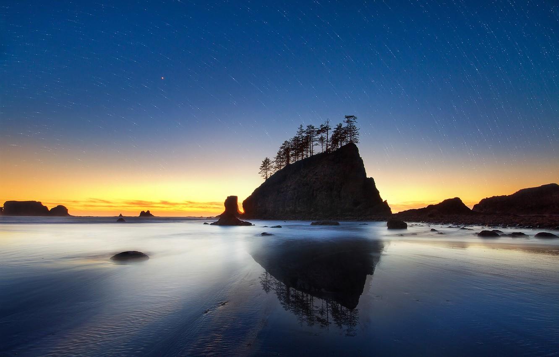 Photo wallpaper sand, sea, beach, the sky, water, stars, trees, sunset, night, rock, the ocean, rocks, shore, …