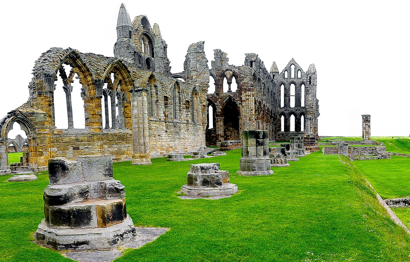 Photo wallpaper grass, England, the ruins, ruins, England, North Yorkshire, North Yorkshire, Whitby Abbey, Whitby Abbey