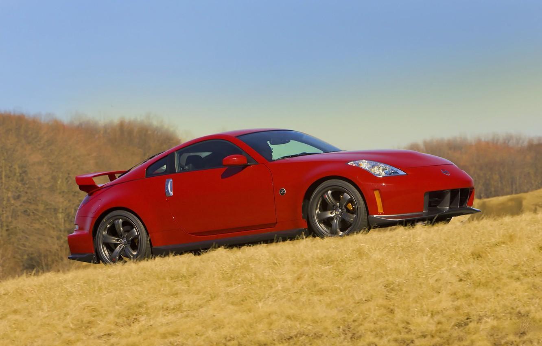 Photo wallpaper road, auto, grass, machine, red, nissan, auto, Nissan