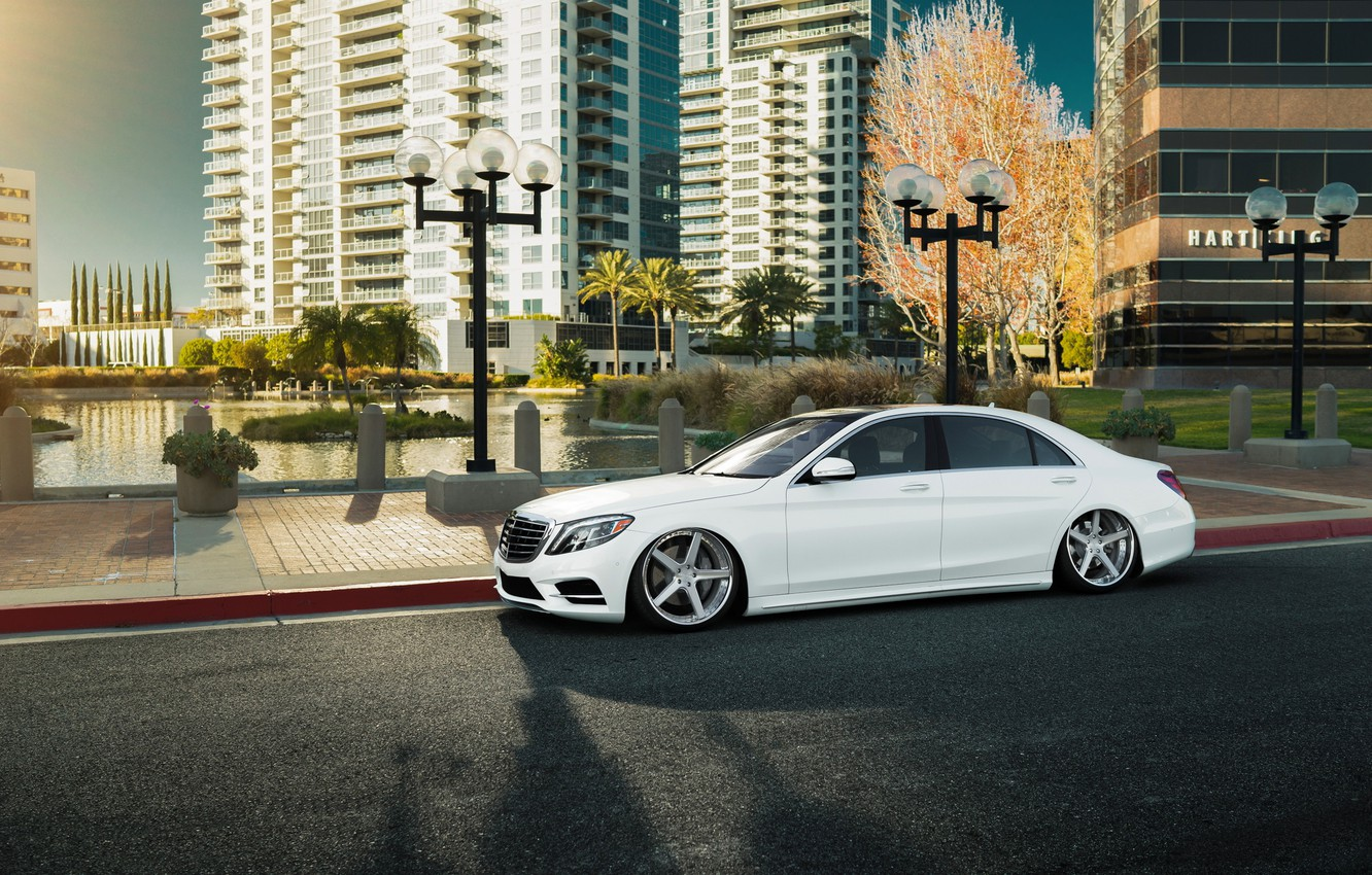 Photo wallpaper car, white, mercedes, tuning, stance, s-class
