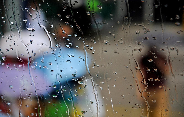 Photo wallpaper autumn, glass, drops, the city, people, rain, umbrellas, umbrellas
