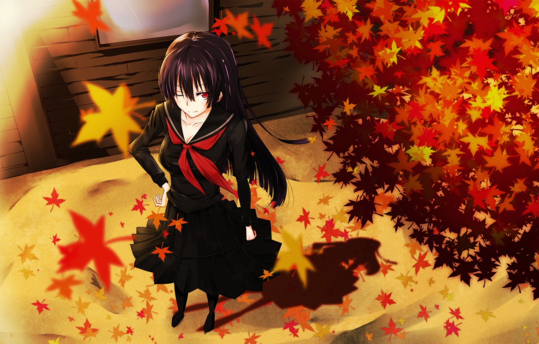 Photo wallpaper autumn, leaves, girl, smile, the wind, schoolgirl, art, kanoa yuuko, tasogare otome x amnesia, gensouki