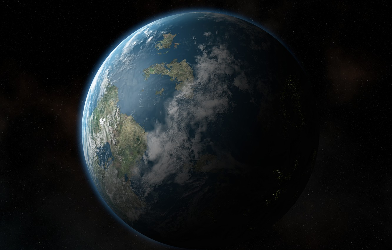 Photo wallpaper space, stars, continents, Earth