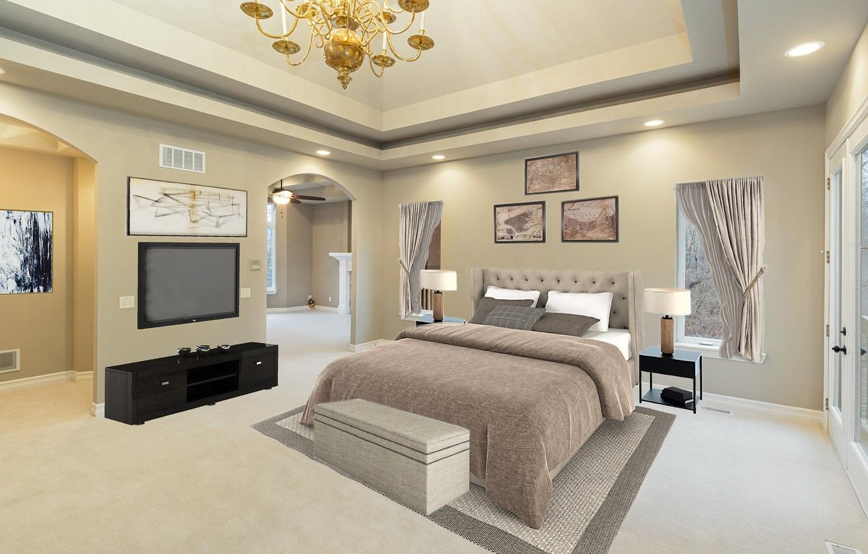 Photo wallpaper design, bed, TV, bedroom