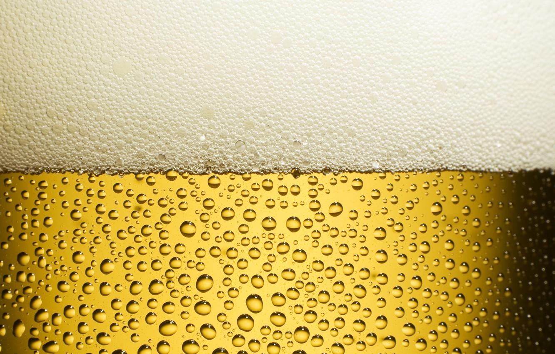 Photo wallpaper Drops, Beer, Freshness, Yellow, Foam