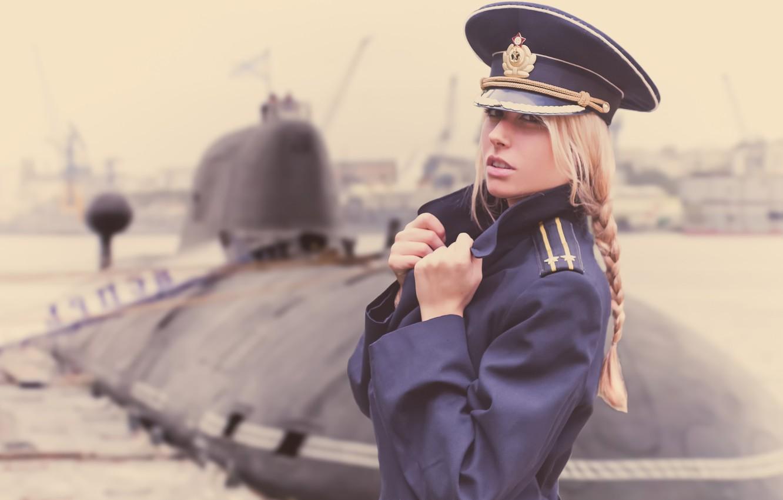 wallpaper girl submarine officer jacket navy day the captain of