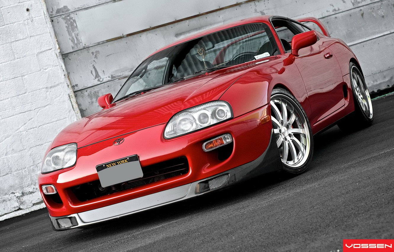 Photo wallpaper Red, Toyota, Supra, Vossen, Wheels