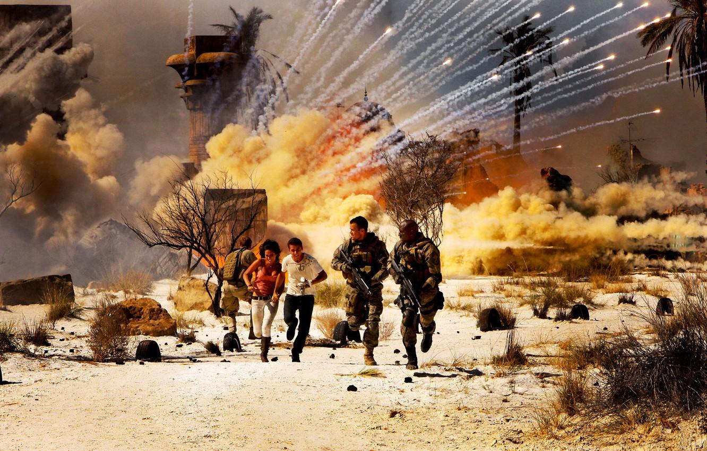 Photo wallpaper smoke, The explosion, running, Egypt, Megan Fox, military, Transformers 2