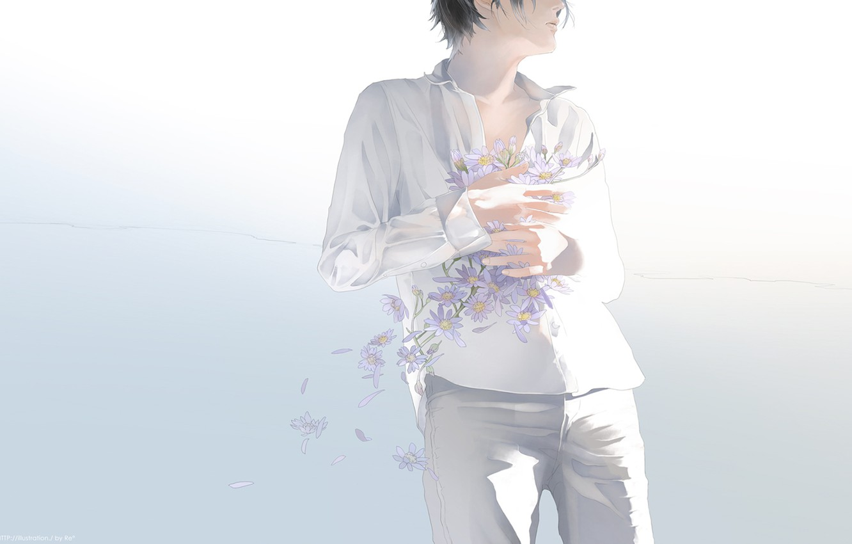 Photo wallpaper flowers, petals, guy, art, white clothes