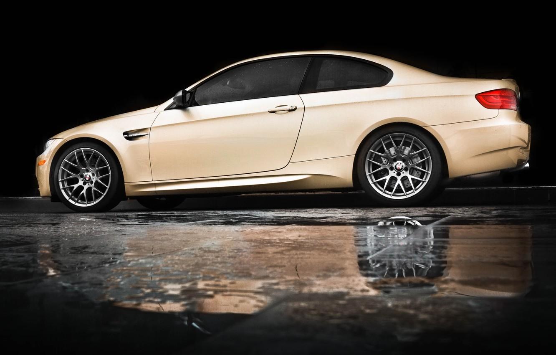 Photo wallpaper reflection, rain, bmw, BMW, puddle, profile, beige, e92, beige