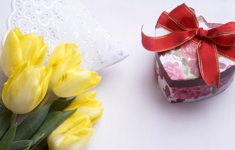 Photo wallpaper flower, flowers, gift, heart, Tulip, bouquet, tape, tulips, yellow