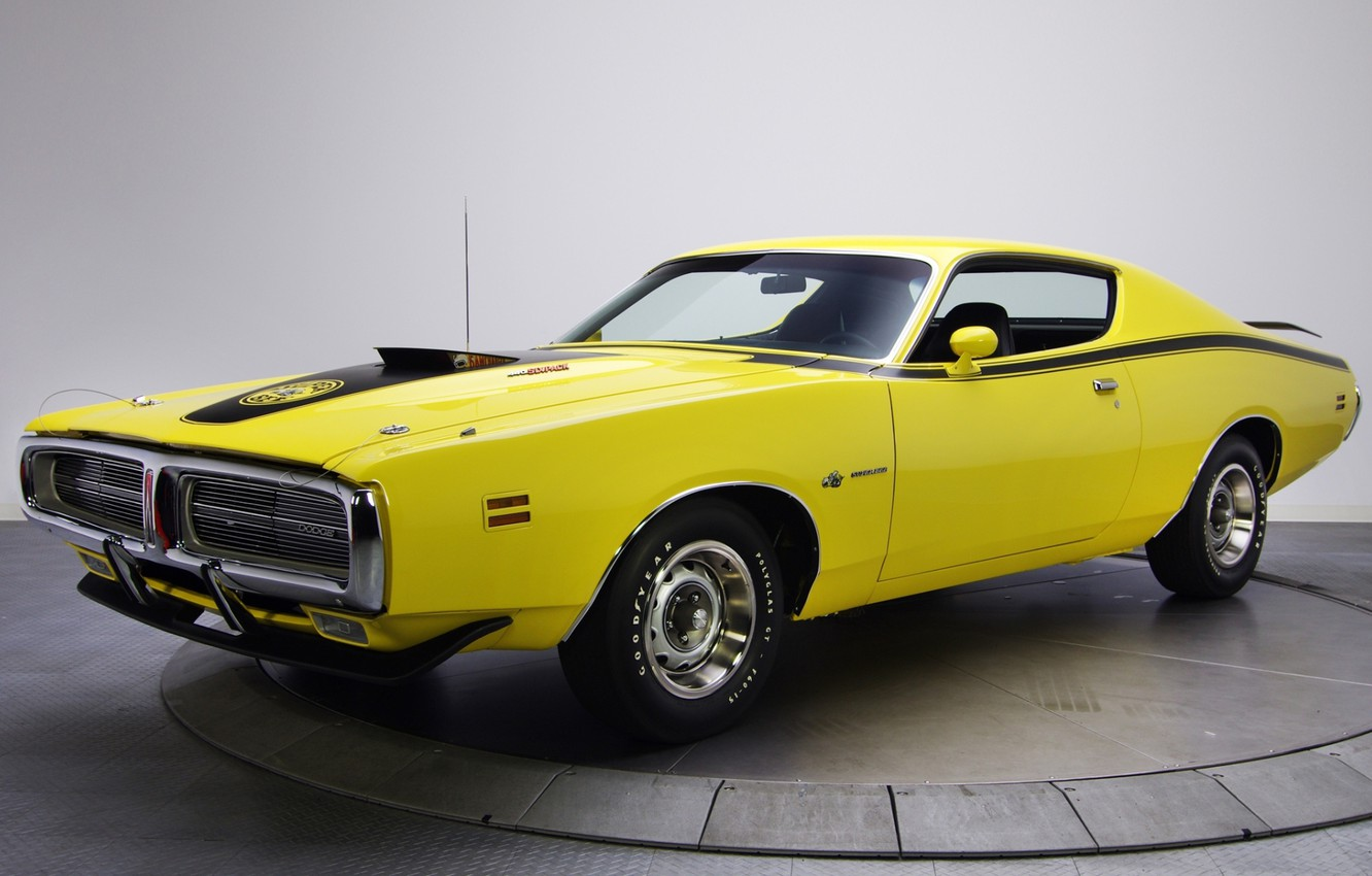 Photo wallpaper background, Dodge, 1971, Dodge, Charger, the front, Muscle car, Super Bee, The charger, yellow.Muscle car