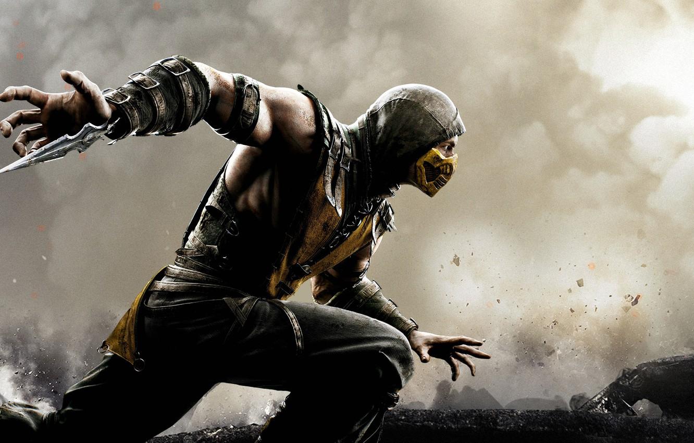 Photo wallpaper smoke, Mortal Kombat, Scorpion, Ascoli