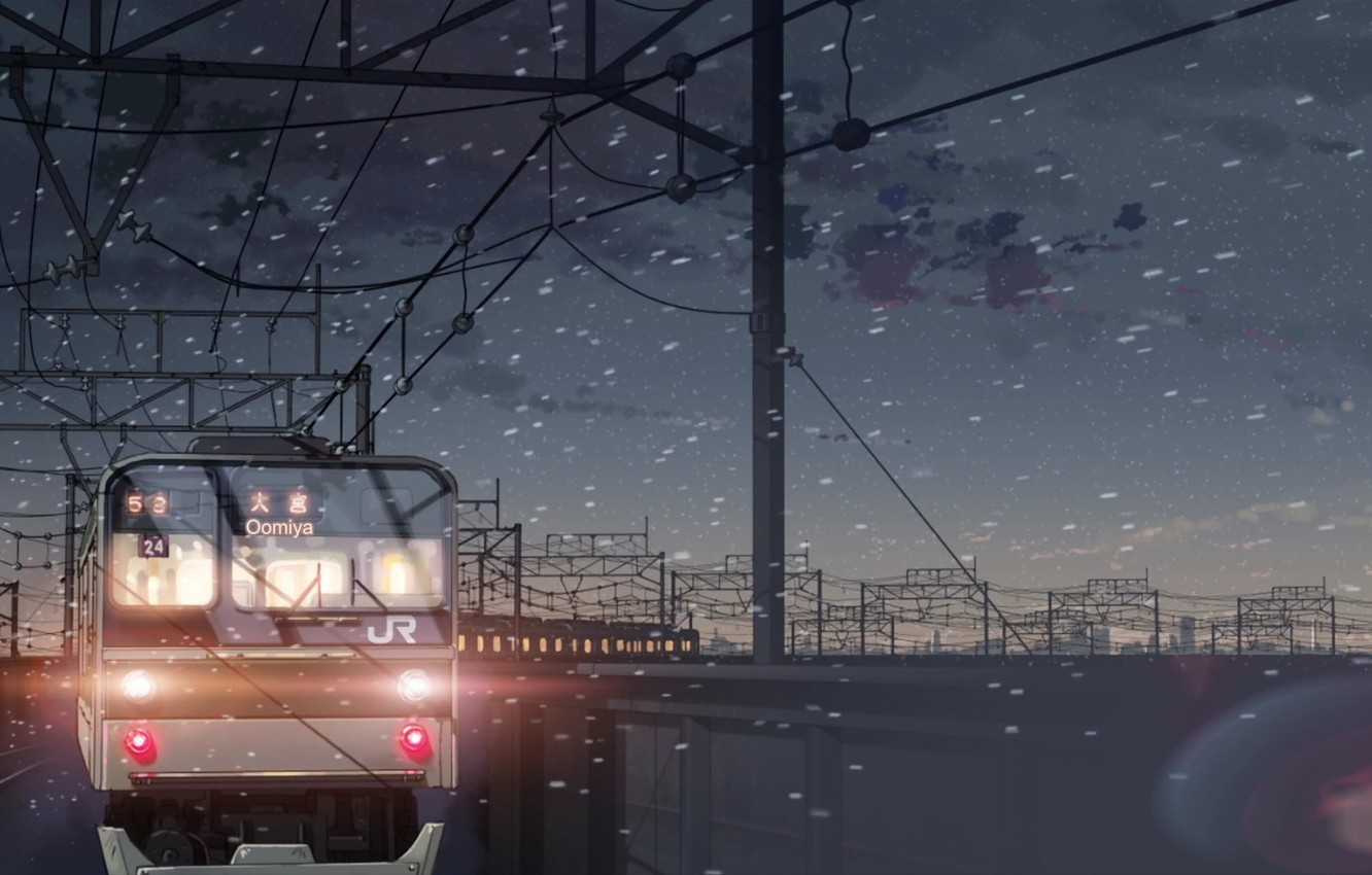 Photo wallpaper snow, train, 5 centimeters per second, Makoto Xingkai