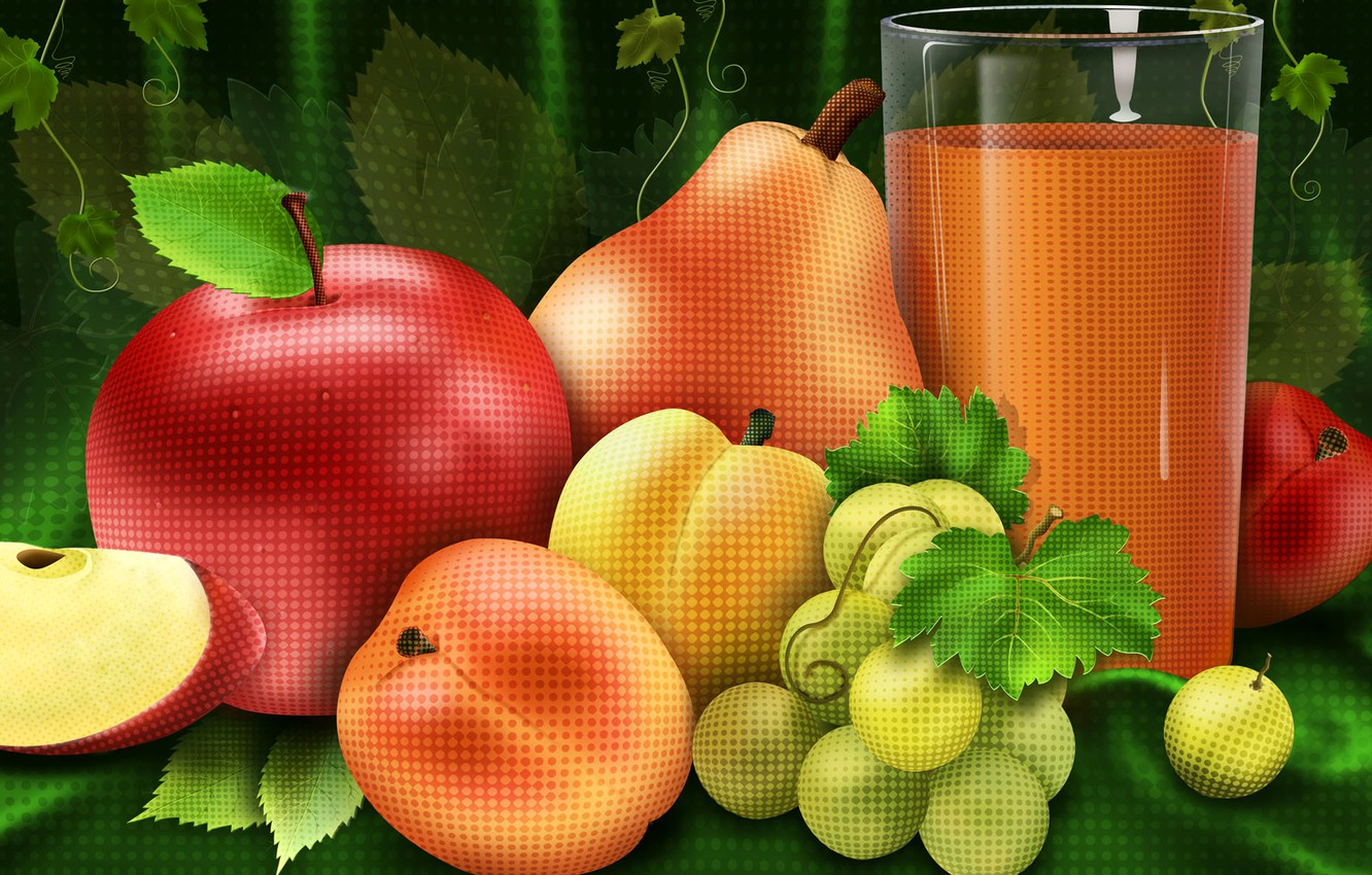 Photo wallpaper glass, Apple, juice, grapes, pear, fruit, naturmort