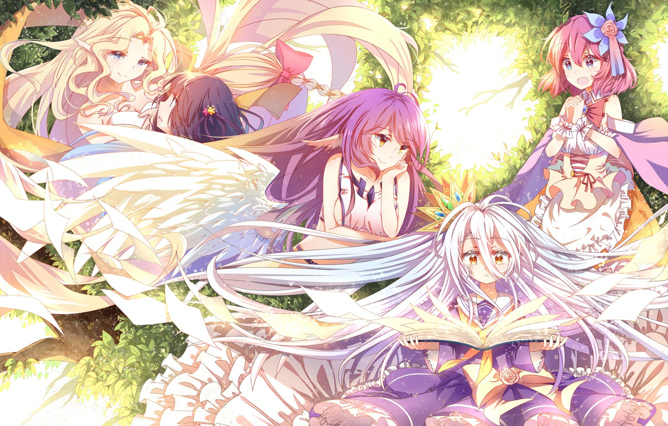 Wallpaper Art Anime Book Sheets Shiro Jibril No Game No Life