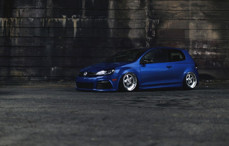 Wallpaper Car Blue Volkswagen Tuning Golf R Stance Mk6 Images