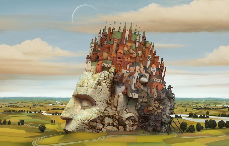Photo wallpaper the city, new Babylon, head