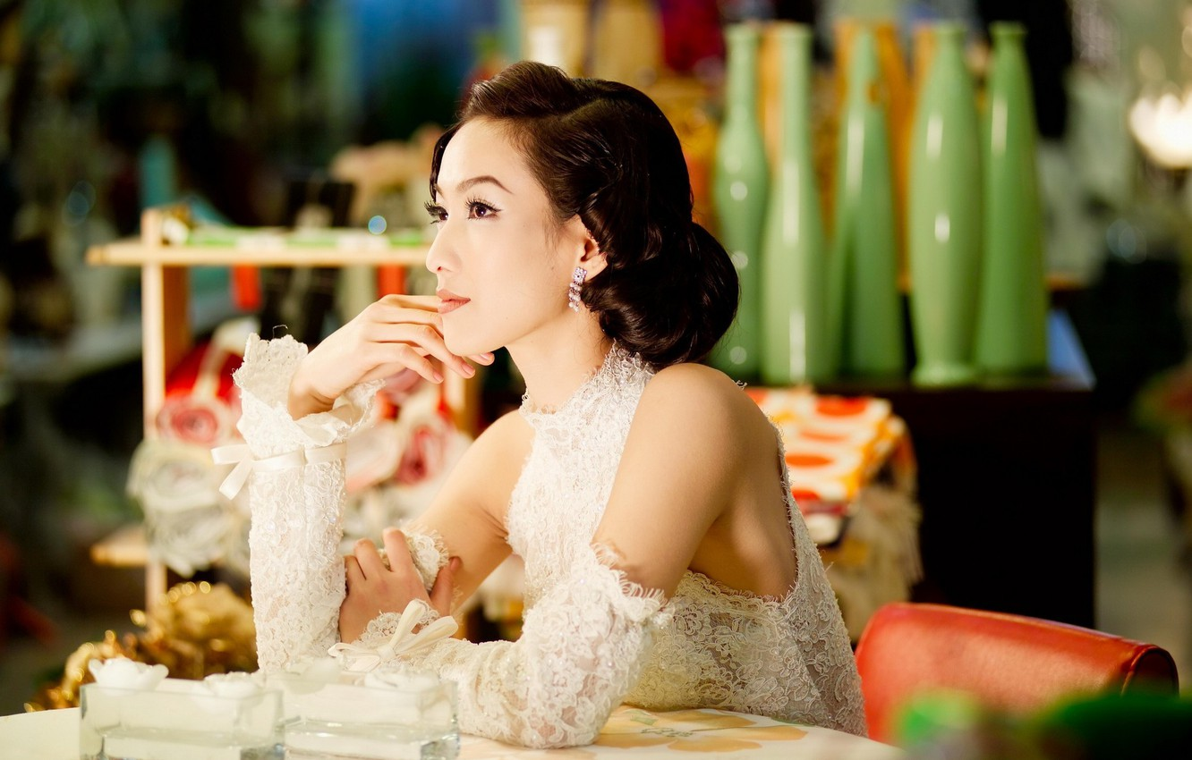 Photo wallpaper girl, table, earrings, dress, hairstyle, gloves, Asian, sitting
