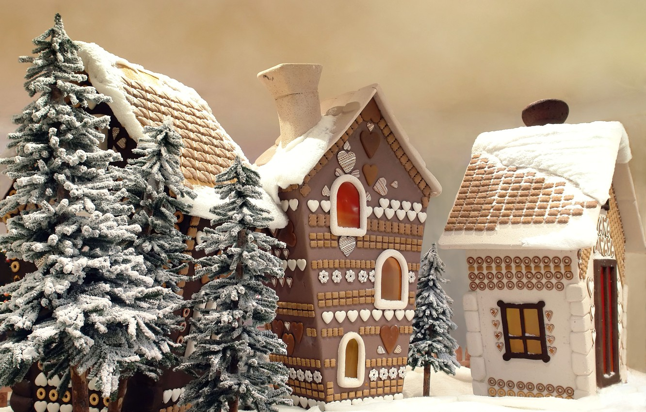 Photo wallpaper winter, forest, snow, trees, new year, tale, village, sweets, houses, house, home, frozen holiday, xmas, …