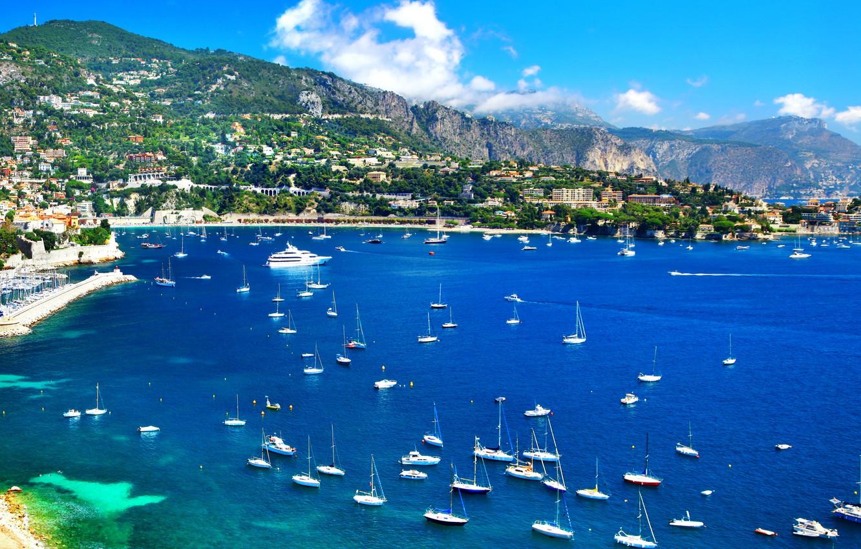 Photo wallpaper sea, landscape, mountains, coast, France, home, yachts, boats, boats, Nice, Nice
