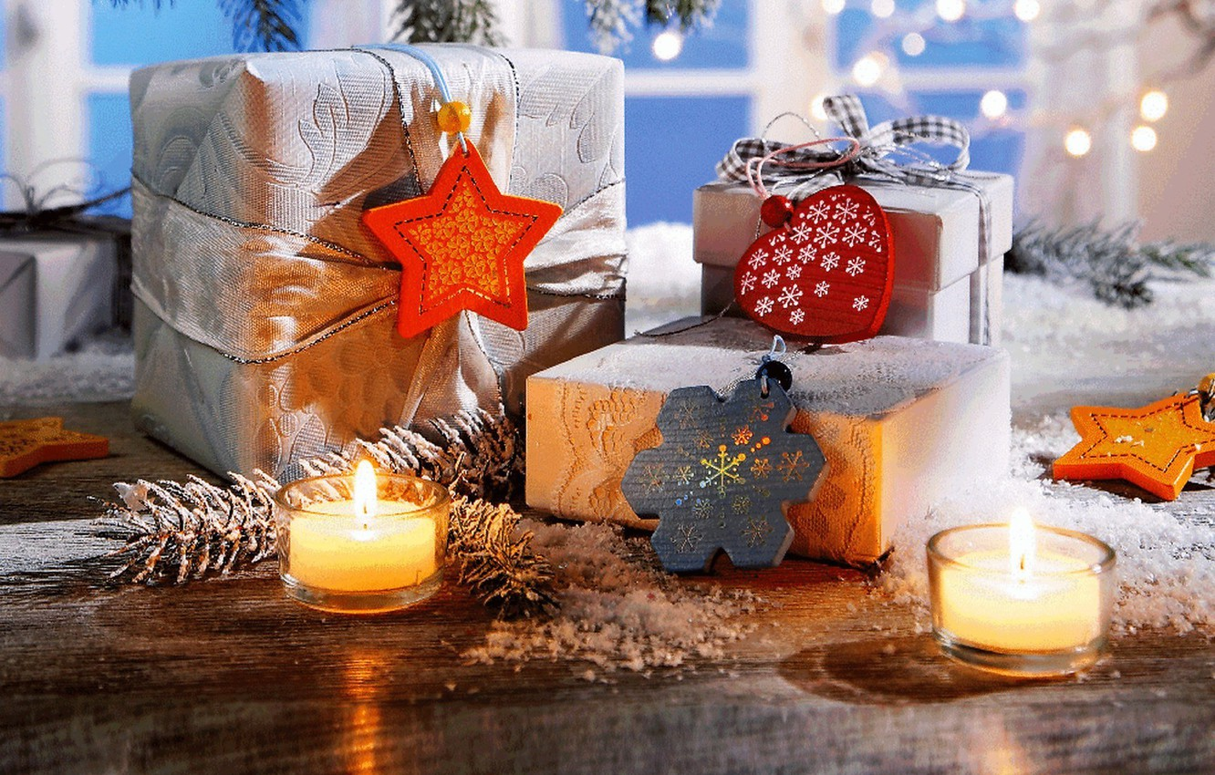 Photo wallpaper winter, stars, snow, decoration, snowflakes, holiday, heart, candles, New Year, Christmas, gifts, Happy New Year, …