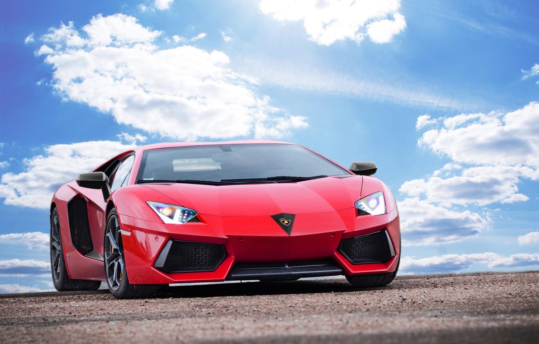 Photo wallpaper the sky, clouds, Lamborghini, Lamborghini, red, red, Lamborghini, LP700-4, Aventador, Aventador, LB834