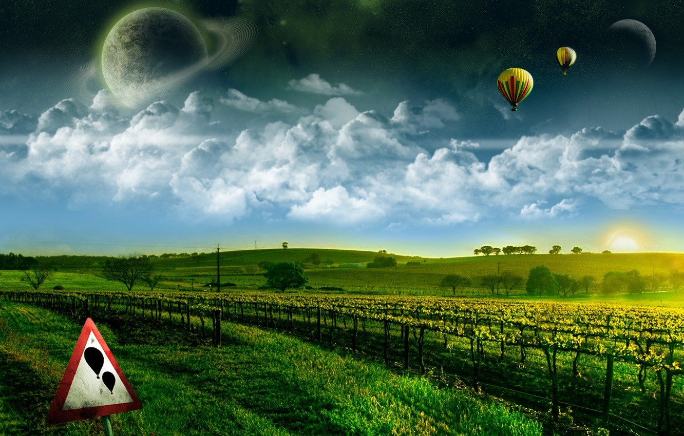 Photo wallpaper greens, dream, space, flight, here wishes come true, balloons