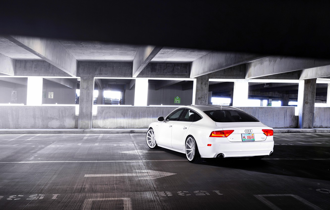 Photo wallpaper Audi, Audi, white, Parking, white, wheels, vossen, rearside