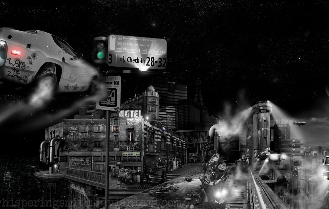 Photo wallpaper the city, robot, black and white, flying machines, cyberpunk