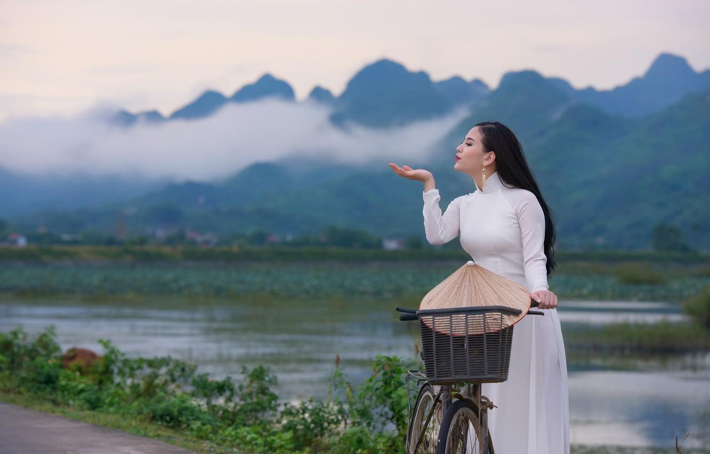 Photo wallpaper nature, face, dress, Asian
