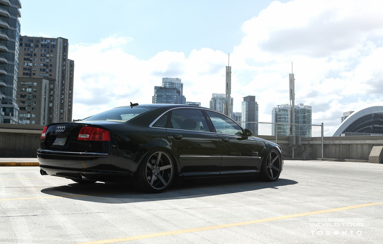 Photo wallpaper audi, black, Audi A8, long