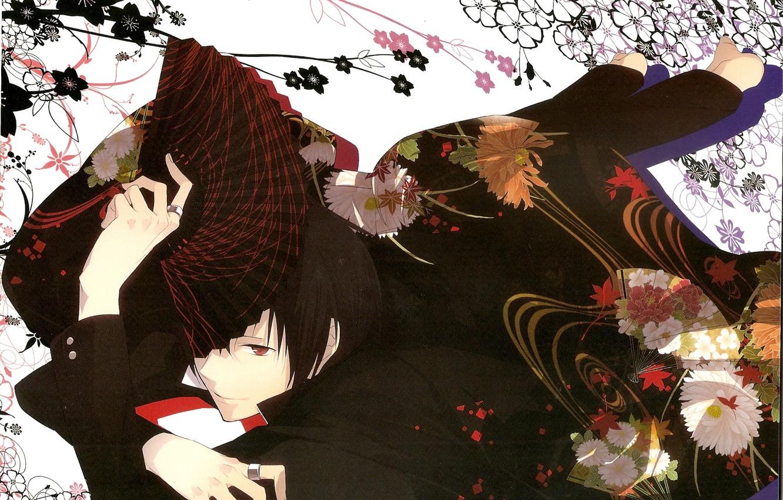 Photo wallpaper look, flowers, smile, fan, guy, Durarara!, Durarara!, Izaya Orihara, Of Izaya Orihara