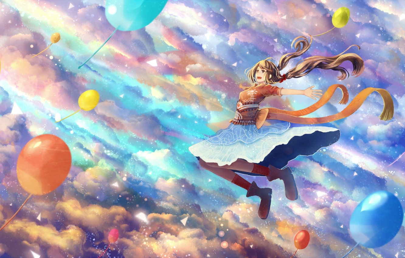 Photo wallpaper the sky, girl, clouds, balls, joy, anime, art, bounin