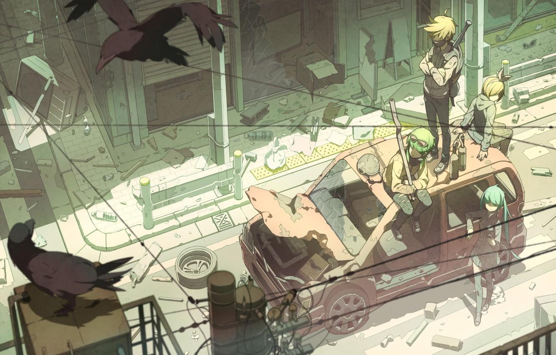 Photo wallpaper machine, birds, the city, weapons, girls, wire, home, art, guys, vocaloid, hatsune miku, kagamine rin, …