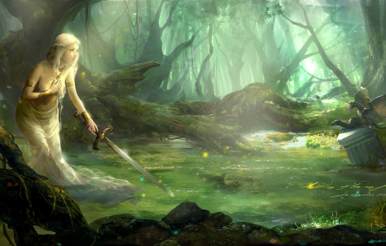 Photo wallpaper forest, water, girl, dragons, sword, art, A Song of Ice and Fire, lu xiangxiang
