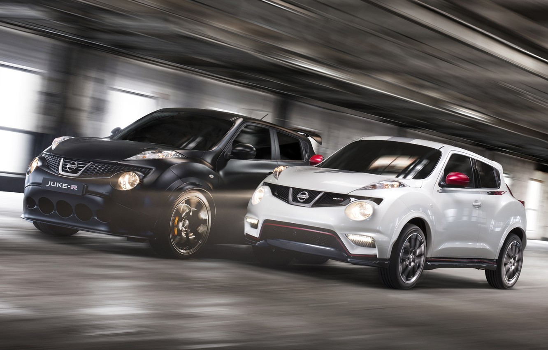 Photo wallpaper white, black, speed, Nissan, Nissan, the front, crossover, Juke-R, Juke
