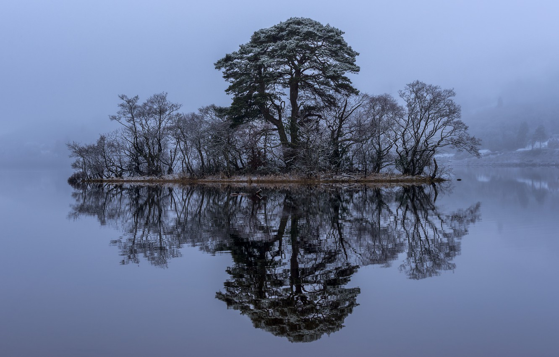 Photo wallpaper trees, lake, reflection, Scotland, island, Scotland, Loch Awe, Loch Awe, Loch Awe