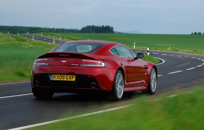 Photo wallpaper road, auto, Wallpaper, Aston Martin, Vantage, V12, back