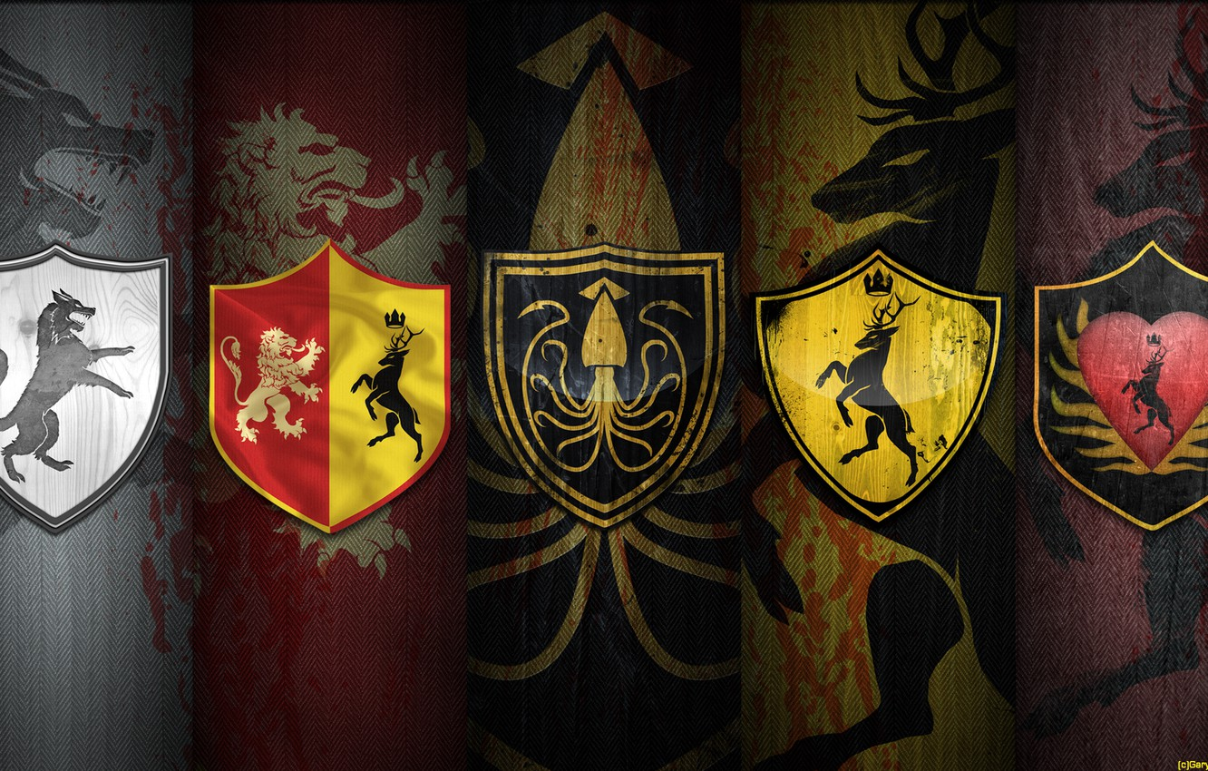 Photo wallpaper wolf, Leo, deer, octopus, coat of arms, A Song of Ice and Fire, Game of …