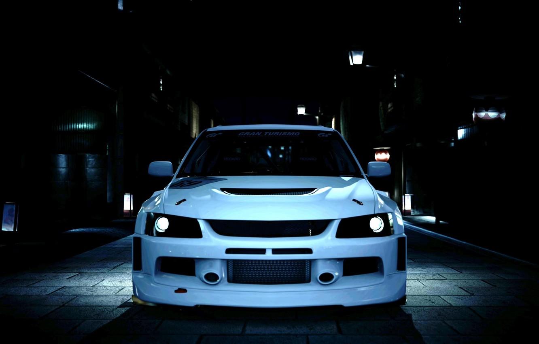 Photo wallpaper night, Mitsubishi Evolution IX, tuning avto