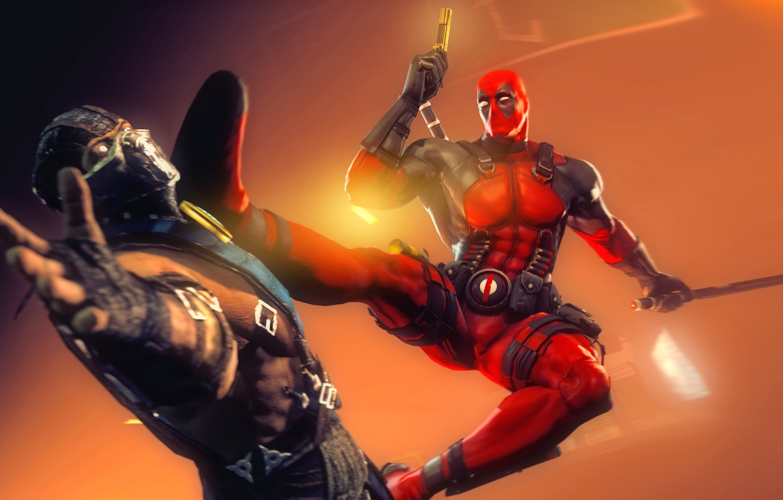 Photo wallpaper rendering, Deadpool, mortal kombat, Sub-Zero, marvel comics, Wade Wilson