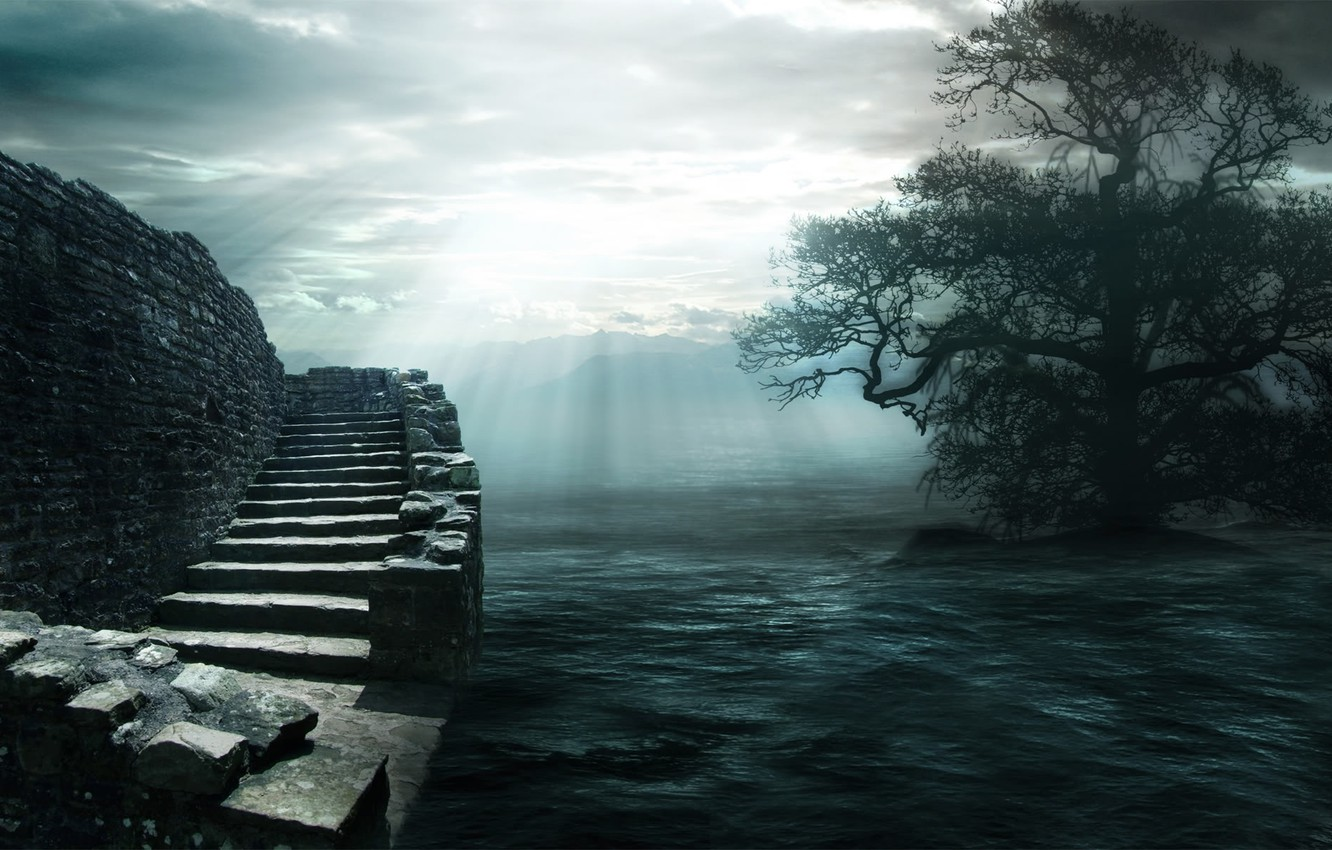 Photo wallpaper water, clouds, light, stones, tree, ladder