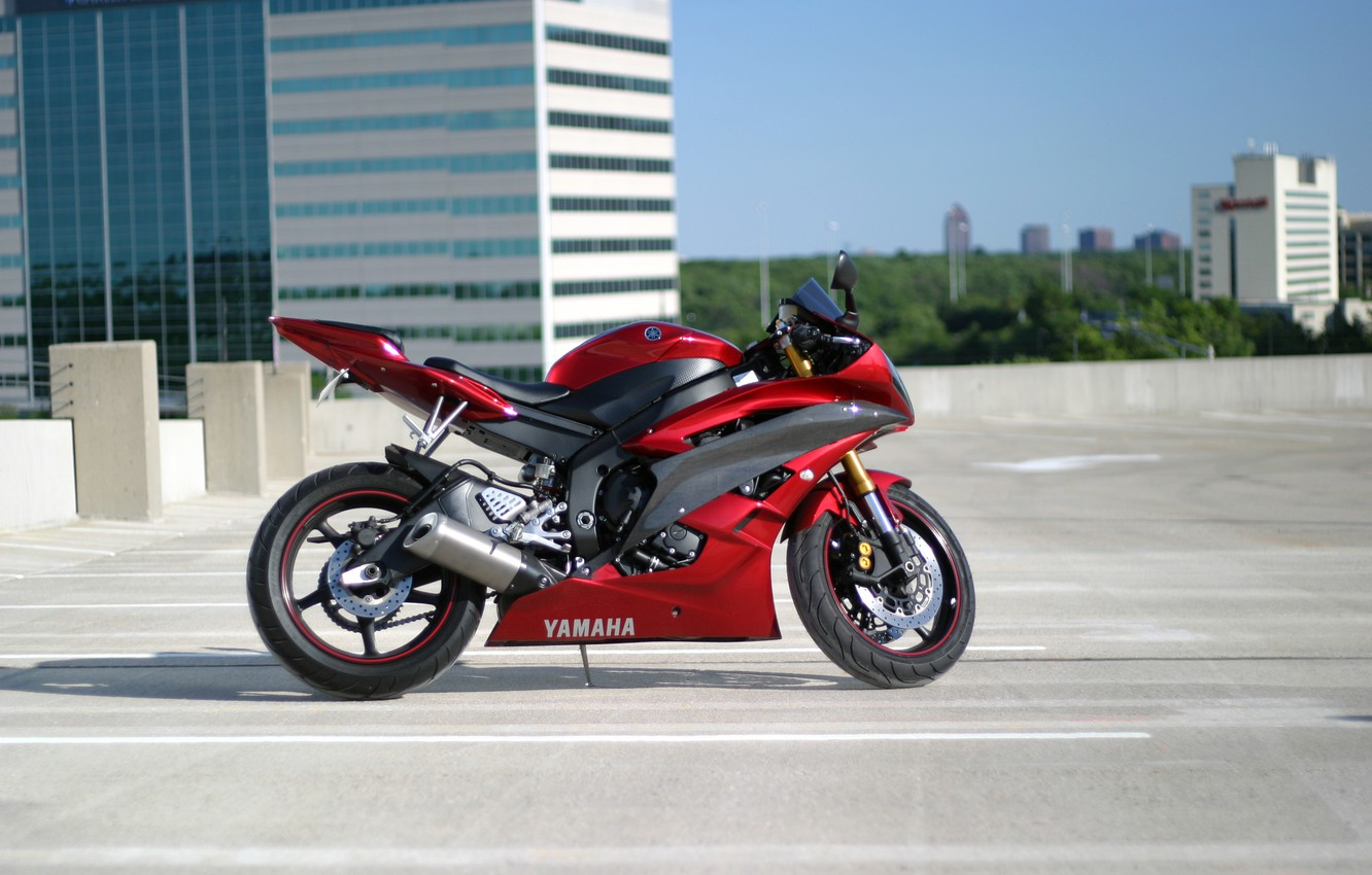 Photo wallpaper roof, building, motorcycle, Parking, red, red, yamaha, bike, Yamaha, spersport, yzf-r6
