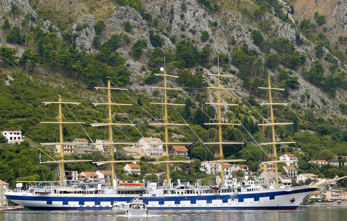 Photo wallpaper FOREST, MOUNTAINS, SHIP, MAST, SIZE, The VILLAGE, SLOPE, The SHIP, TOWN, FIVE