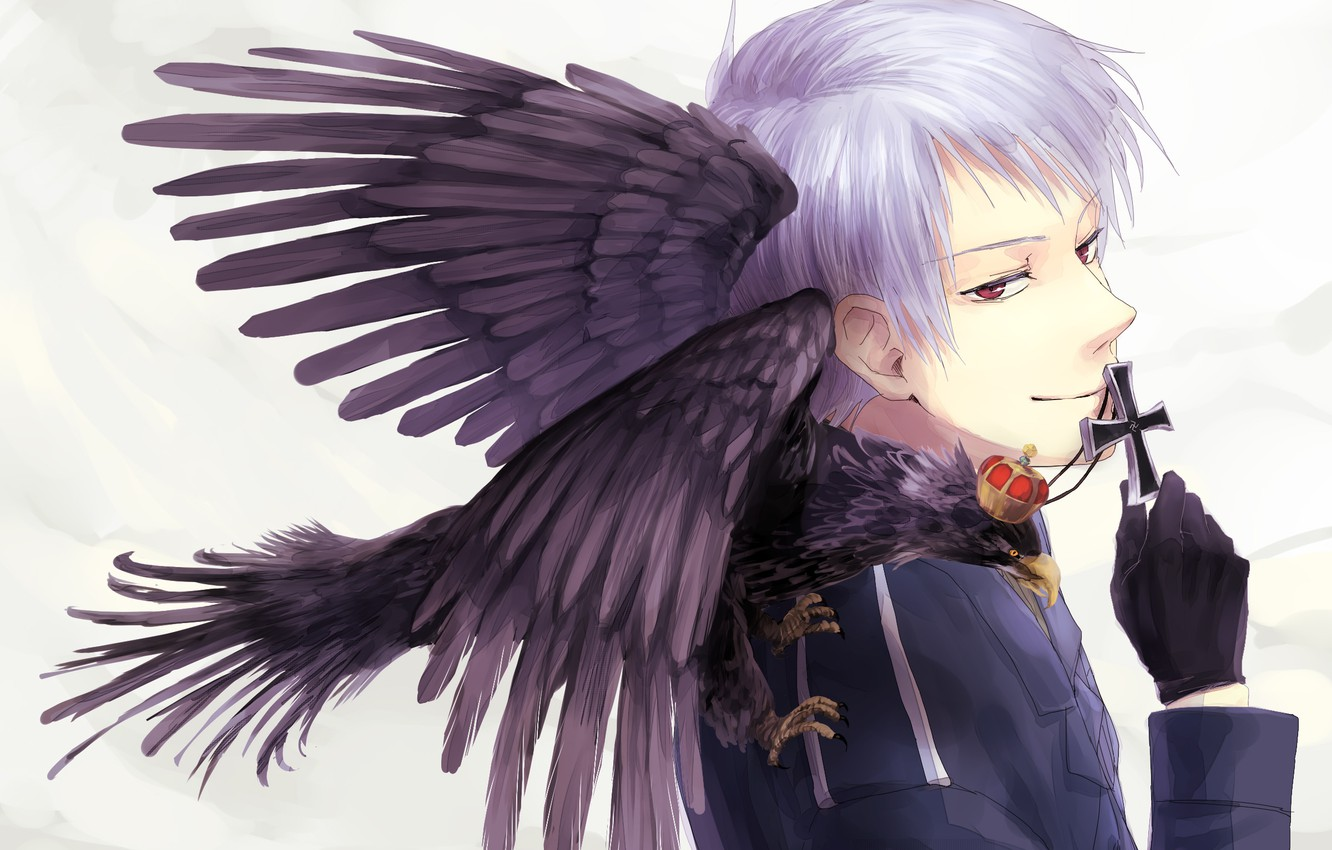 Photo wallpaper cross, anime, gloves, guy, Raven, red eyes, military uniforms, Axis Powers: Hetalia, Prussia