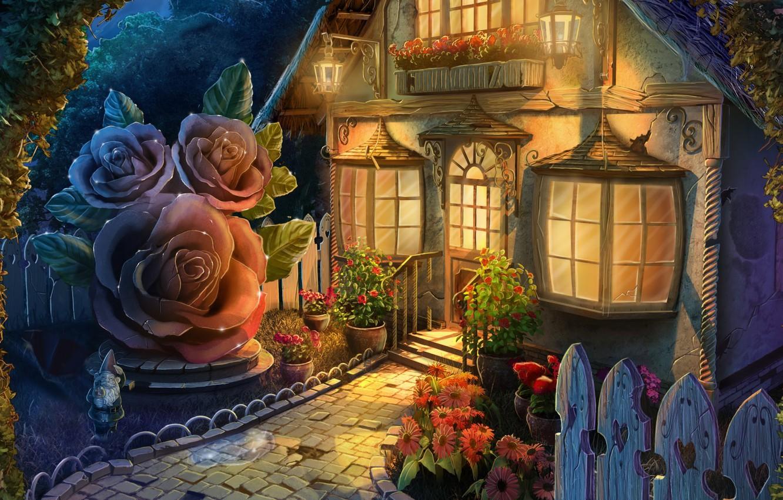 Photo wallpaper light, flowers, Windows, art, house, gnome