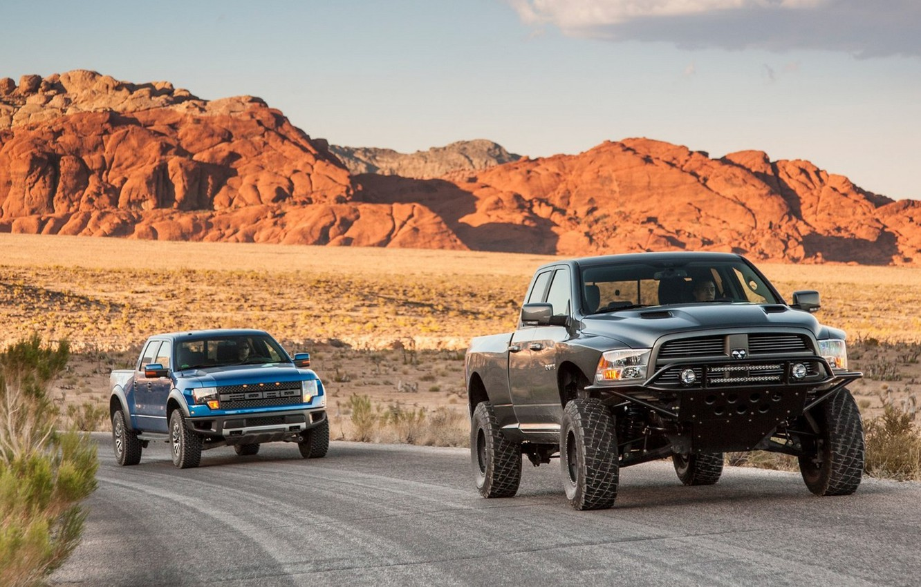 Photo wallpaper Ford, Ford, Dodge, Machine, Dodge, Raptor, Raptor, Low, Ram, REM, SVT 150, Runner