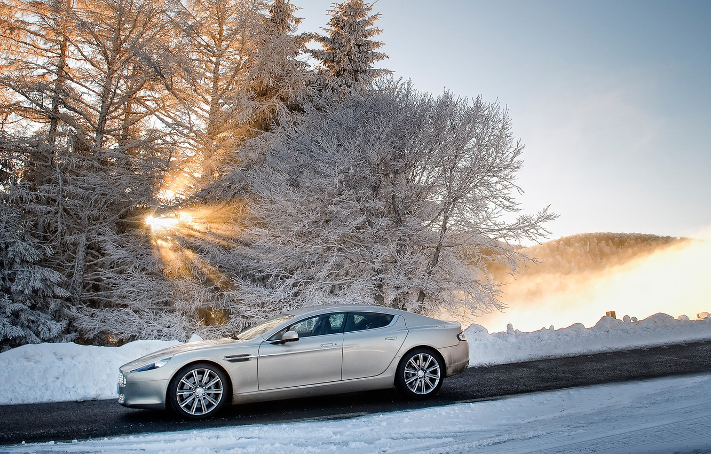 Photo wallpaper winter, the sky, the sun, snow, trees, Aston Martin, Rapide, sedan, side view, Aston Martin, …