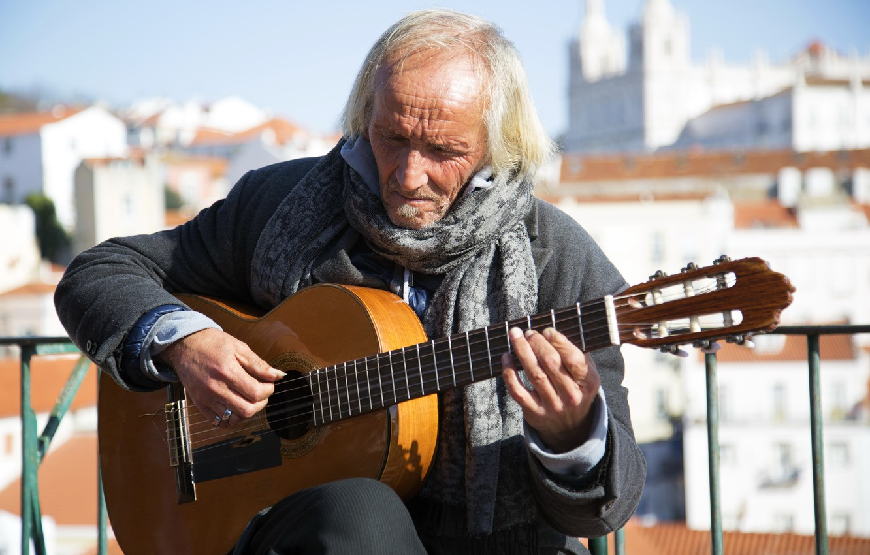 Photo wallpaper music, street, people, guitar